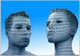 Digitalisierung Männerkopf Frauenkopf Binär